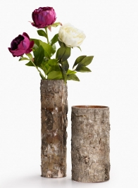 12in & 16in Birch Bark Glass Vases
