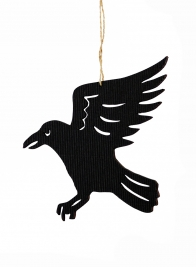 6in Die Cut Black Crow Ornament, Set of 6