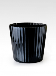 ribbed luster black glass flower vase