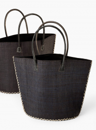 Large Black Raffia Trapezoid Bag