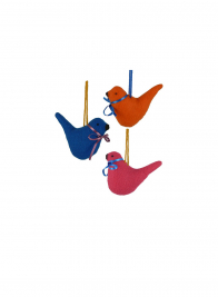 3 1/2in Blue Fabric Bird Ornament