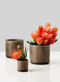 Brown Linen Ceramic Vases