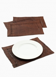 BROWN RAFFIA HEMSTITCH PLACEMAT, SET OF 4