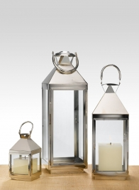 8in, 16in, & 21in Burnished Silver Square Lanterns