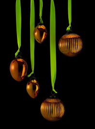 4in Copper Ribbed Glass Ball Ornament, Set of 4