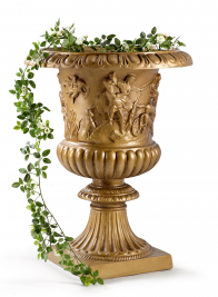 26in Gold Relief Fiberglass Urn