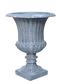 classic grey fiberglass garden urn