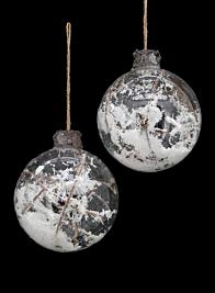 clear glass ball ornament nature branches snow AX14-SAB-011