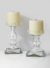 clear glass pillar candle holders