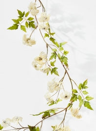 cream flocked clematis artificial flower vine garland for wedding event decor