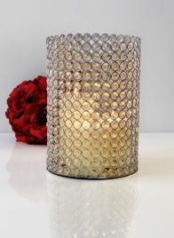 crystal bead pillar candle holder centerpiece