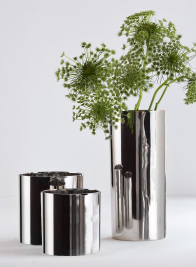5in Nickel Plated Aluminum Cylinder Vase