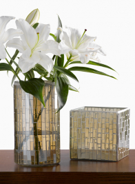 6in Mosaic Glass Tile Cube Vase