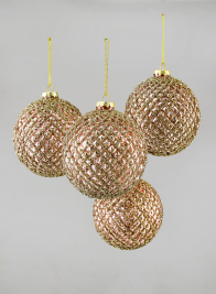 4in Glittered Rose Gold Hobnail Glass Ornament Ball, Set of 4