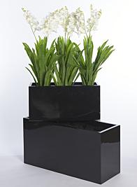 Glossy Black Rectangular Light Fiberstone Planter