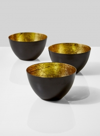 black iron gold leaf bowl candleholder