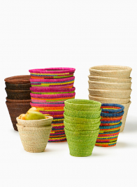 Multicolor and Natural Raffia Pot