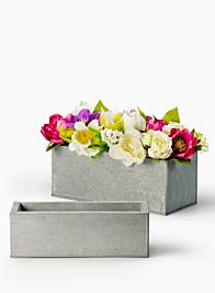 Grey Zinc Rectangular Planters
