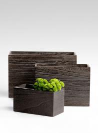 16x6x10 Wood Vase