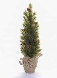 16in Pine Tree With Burlap Wrap