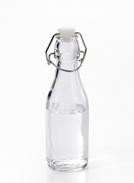 mini cafe water bottle with wire bail for wedding favors
