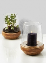 7 3/4 x 9 3/4in Vase On Wood Base