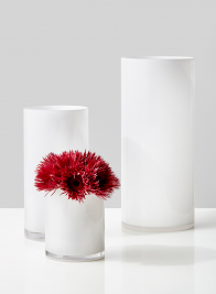 White Glass Cylinder Vases