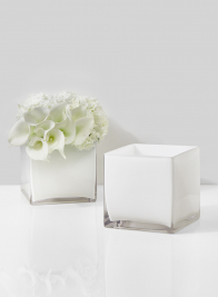 modern square white glass vase for wedding centerpieces