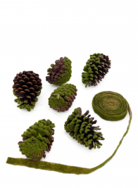 4 - 5 1/2in Flocked Moss Pine Cone, Set of 6