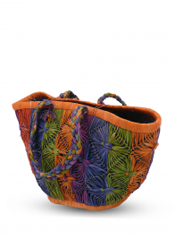 Multicolor Raffia Bag With Braid Strap