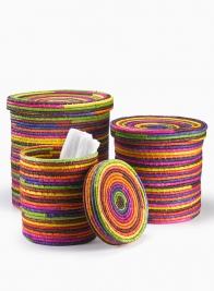Multicolor Raffia Baskets With Lids