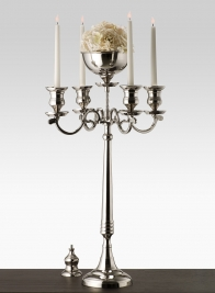 32in Nickel Candelabra With Bowl
