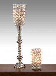 28 1/2in Crystal Bead Nickel Pillar Stand