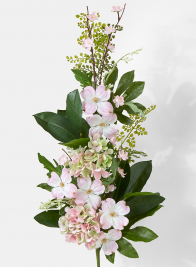pink hydrangea cascading wedding bouquet
