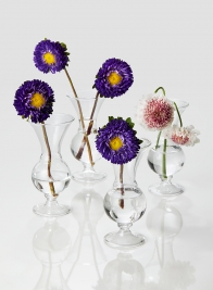 5in Clear Glass Trumpet Bud Vase, Set of 4