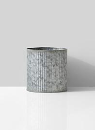 pleated round zinc vase