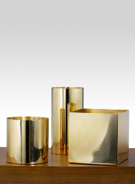 6in Polished Brass Cylinder Vase