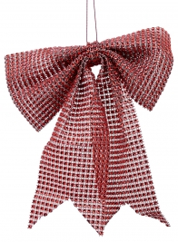 9in Red Diamond Bead Bow