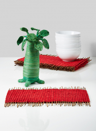 woven red stick placemat set of 6