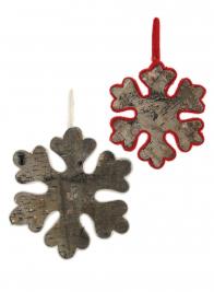 8in Red Felt Edge Birch Snowflake Ornament