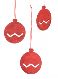 3in Red Wood Cutout Disk Ornament, Set Of 12
