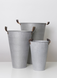 Ribbed Grey Zinc French Vases With Leather Handles