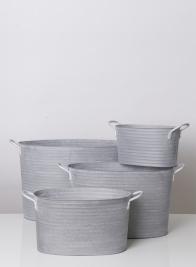 22 1/2in Ribbed Grey Zinc Oval Bucket