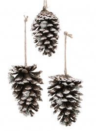 Silver Glitter Pine Cone Ornament