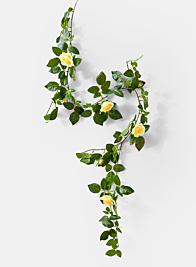 mini yellow rose garland wedding ceremony flowers