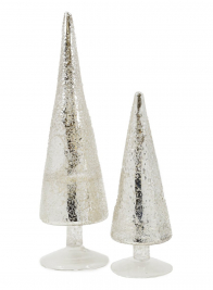 9 1/2 & 14in Iced Silver Table Christmas Trees