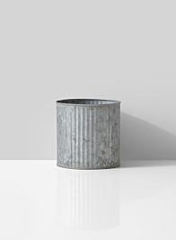 small round pleated galvanized metal vase