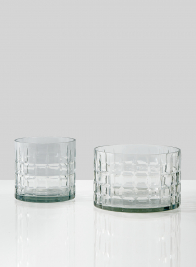 5in & 7in Square Etched Round Vases