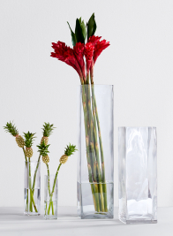 8-, 10-, 16 1/2-, & 24-inch High Square Glass Vases