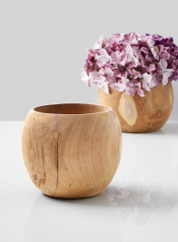 teak wood fishbowl vase with hydrangeas